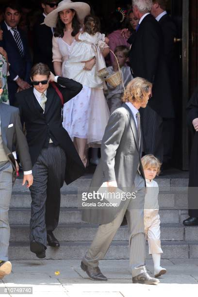 Prince Andrea Casriraghi his wife Tatiana Santo Domingo and their children son Sacha Casiraghi and daughter India Casiraghi leave the wedding of...
