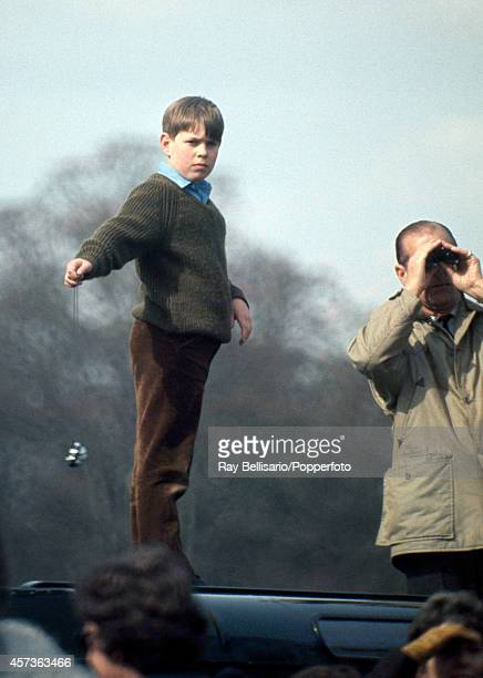 Prince Andrew and his father Prince Philip The Duke of Edinburgh atop a Land Rover during the Badminton Horse Trials in Gloucestershire on 26th April...