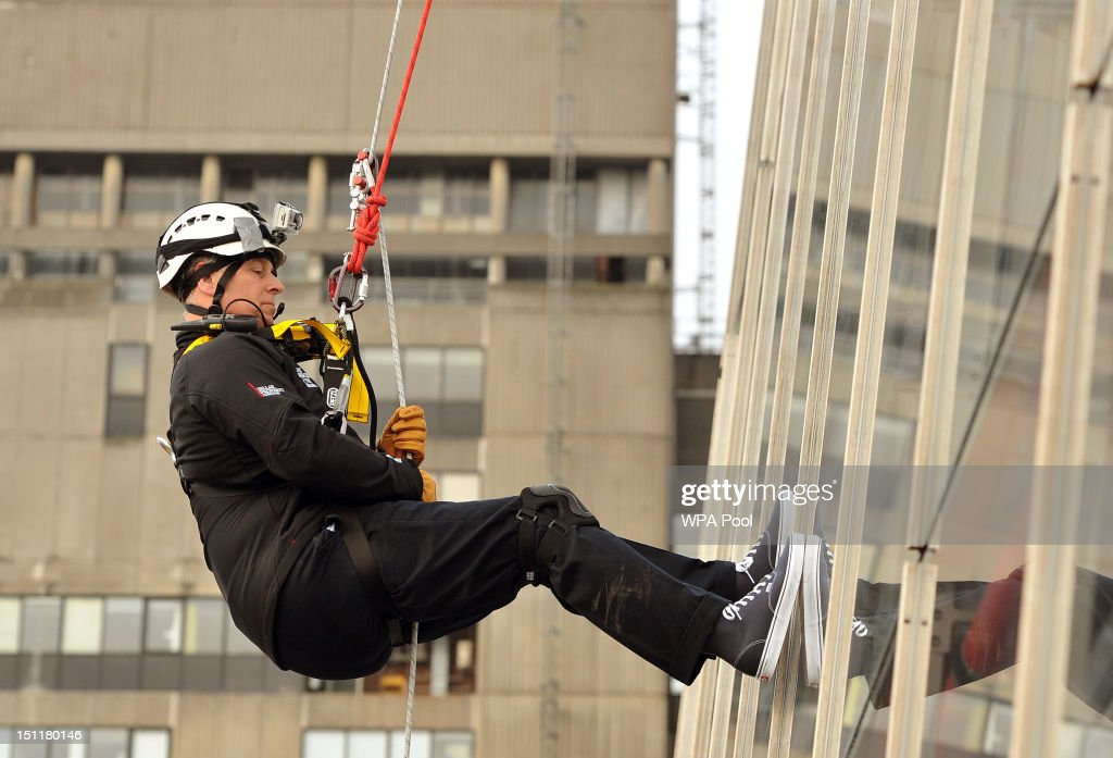 Prince Andrew, Duke of York abseils down the Shard to raise money for charity on September 03, 2012 in London, England. The Prince joined with 40 other people in abseiling down the tallest building for the educational charity The Outward Bound Trust and the Royal Marines Charitable Trust Fund.