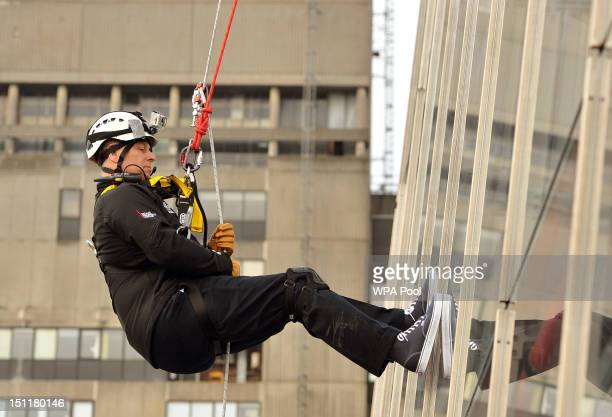Prince Andrew Duke of York abseils down the Shard to raise money for charity on September 03 2012 in London England The Prince joined with 40 other...