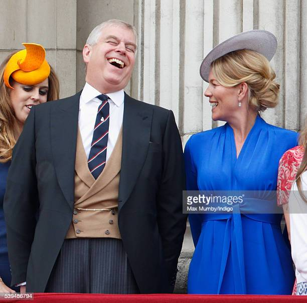 Prince Andrew Duke of York and Autumn Phillips stand on the balcony of Buckingham Palace during Trooping the Colour this year marking the Queen's...