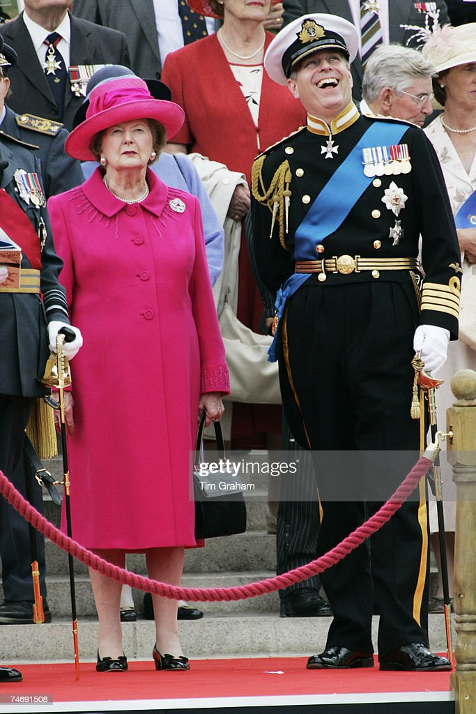 Prince Andrew, Duke of York and Baroness Thatcher watch a military flypast over Buckingham Palace after a parade for Falkland Veterans on June 17, 2007 in London, England. Today marks the final day of commemorations taking place in the United Kingdom and The Falkland Islands to mark the 25th anniversary of the liberation of the Falkland Islands by British Military forces.