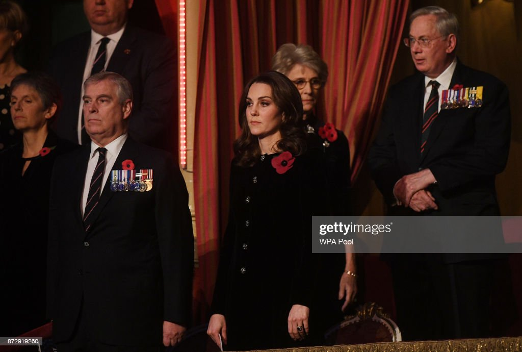 Prince Andrew, Duke of York and Catherine, Duchess of Cambridge attend the annual Royal Festival of Remembrance to commemorate all those who have lost their lives in conflicts at the Royal Albert Hall on November 11, 2017 in London, England.