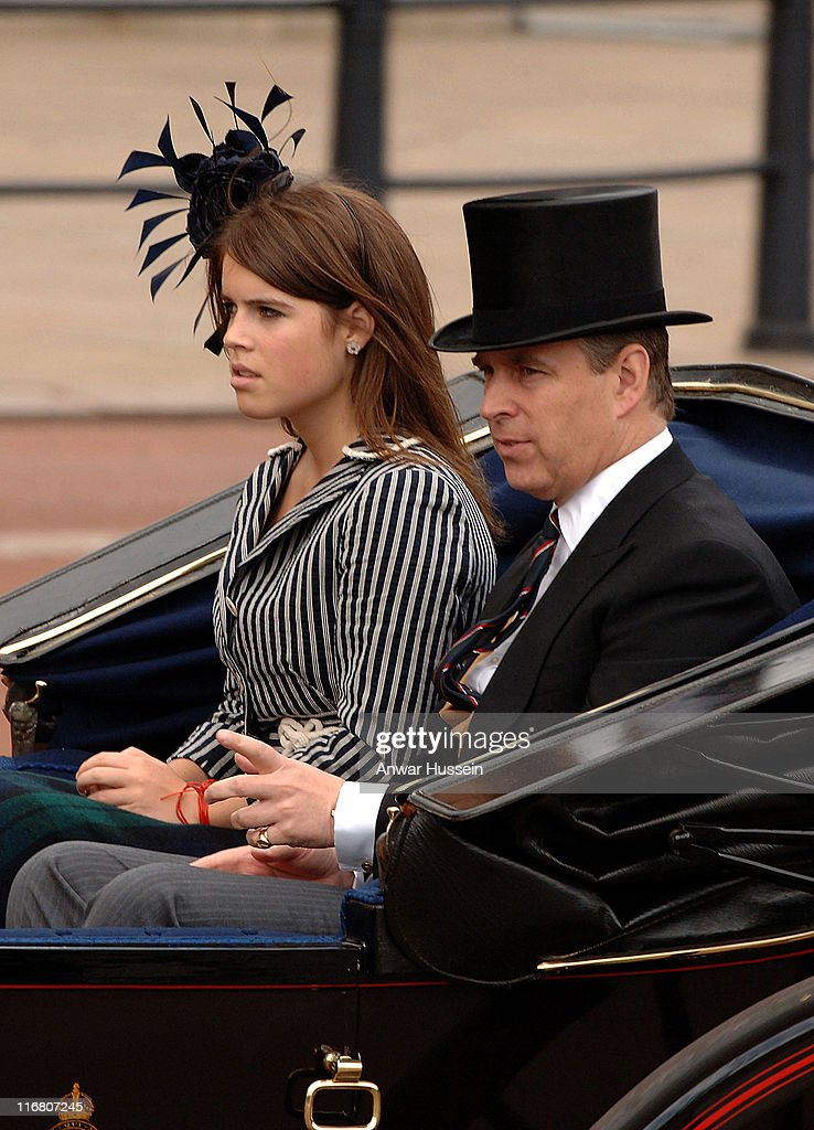 Prince Andrew, Duke of York and his daughter, Princess Eugenie, sit together in an open carriage at the Trooping the Colour Ceremony in London on June 16, 2007.