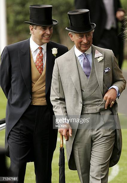 Prince Andrew Duke of York and Prince Charles Prince of Wales arrive for the first day of Royal Ascot 2006 at Ascot Racecourse on June 20 2006 in...