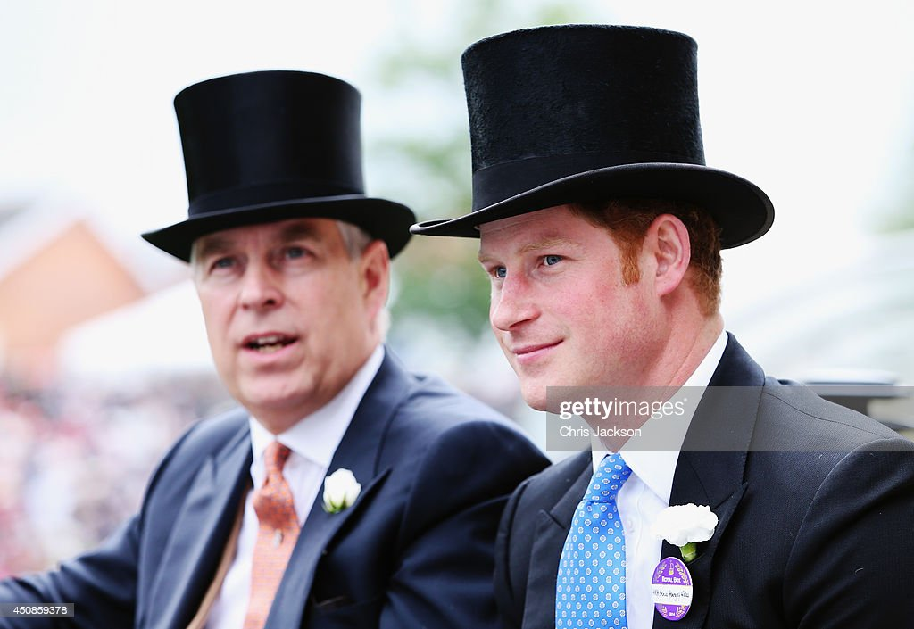 <a gi-track='captionPersonalityLinkClicked' href=/galleries/search?phrase=Prince+Andrew+-+Duc+d%27York&family=editorial&specificpeople=160175 ng-click='$event.stopPropagation()'>Prince Andrew</a>, Duke of York and <a gi-track='captionPersonalityLinkClicked' href=/galleries/search?phrase=Prince+Harry&family=editorial&specificpeople=178173 ng-click='$event.stopPropagation()'>Prince Harry</a> during the Royal Procession day three of Royal Ascot at Ascot Racecourse on June 19, 2014 in Ascot, England.
