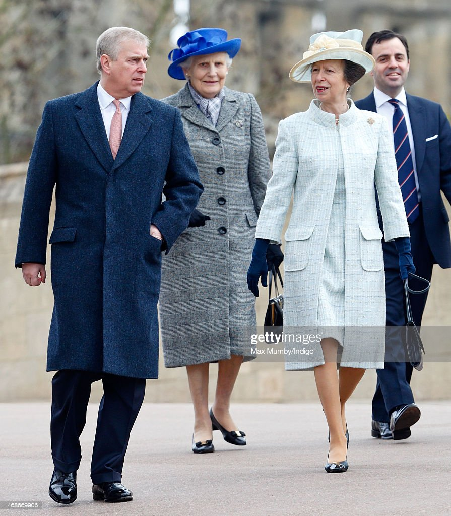 Prince Andrew, Duke of York and Princess Anne, The Princess Royal attend the Easter Matins service at St George's Chapel, Windsor Castle on April 5, 2015 in Windsor, England.