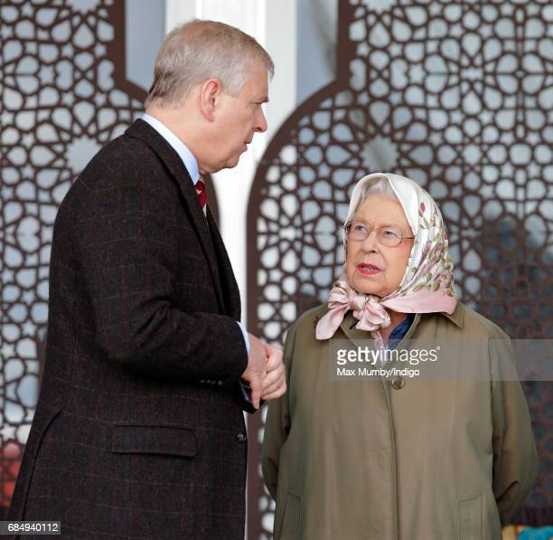 Prince Andrew Duke of York and Queen Elizabeth II attend the Endurance event on day 3 of the Royal Windsor Horse Show in Windsor Great Park on May 12...