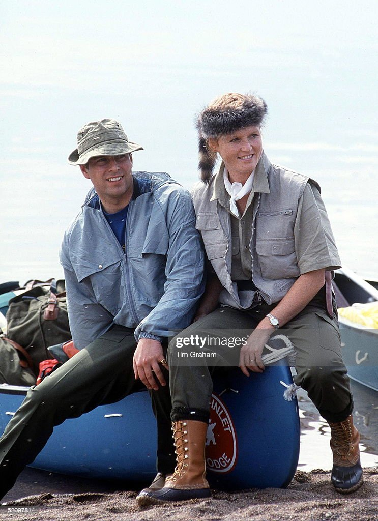 Prince Andrew, Duke Of York And Sarah Duchess Of York Wearing A Davy Crockett Style Hat At The Start Of Their Canoeing Holiday In The North West Territories Of Canada
