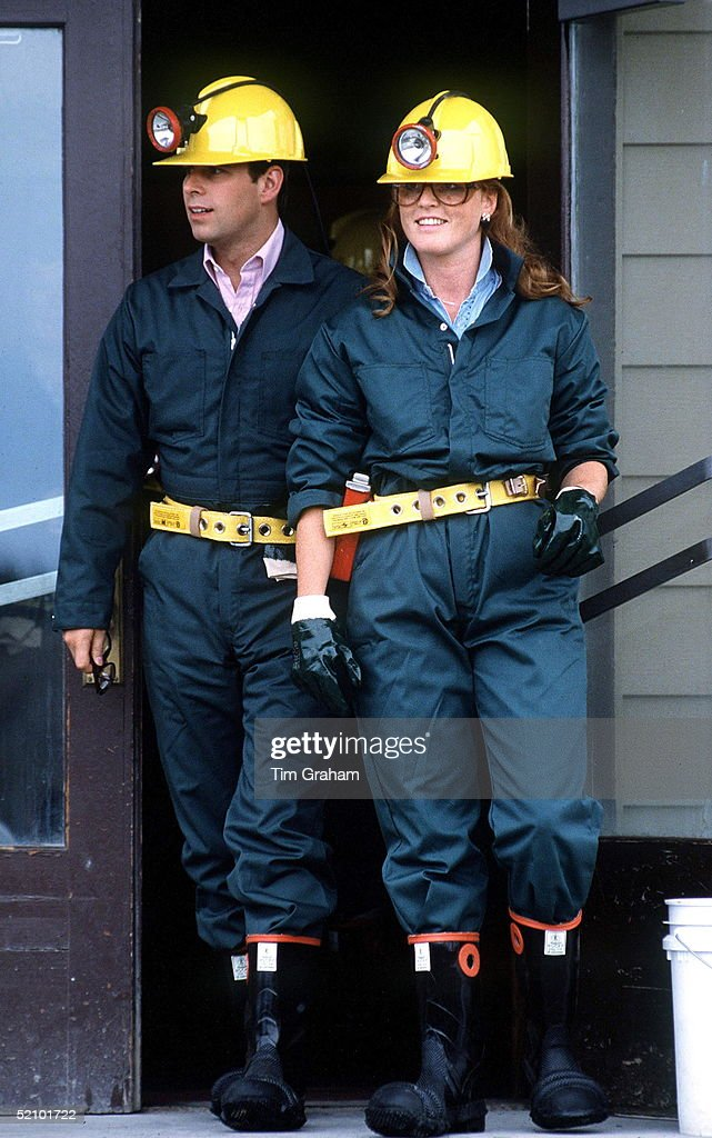 Prince Andrew, Duke Of York And Sarah Duchess Of York Wearing Builder's Hard Hats And Overalls While Visiting The Giant Yellowknife Mines In Canada