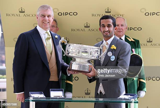 Prince Andrew Duke of York and Sheikh Rashid Bin Dalmook Al Maktoum during day four of Royal Ascot 2014 at Ascot Racecourse on June 20 2014 in Ascot...