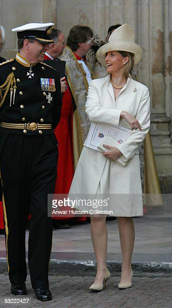 Prince Andrew Duke of York and Sophie Countess of Wessex attend a National Service Of Thanksgiving and Remembrance for a congregation of World War II...