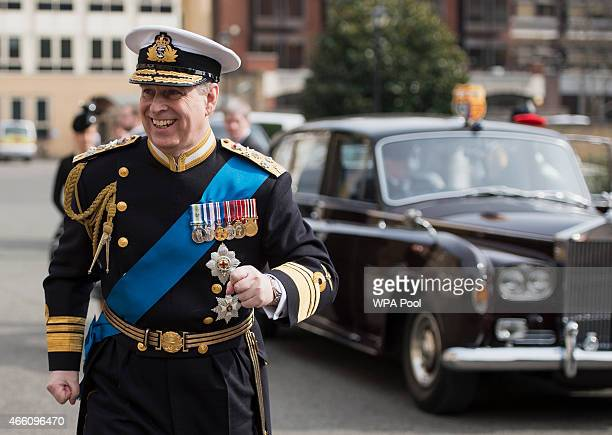 Prince Andrew Duke of York arrives for a reception at the Honourable Artillery Company following the Afghanistan service of commemoration at St...