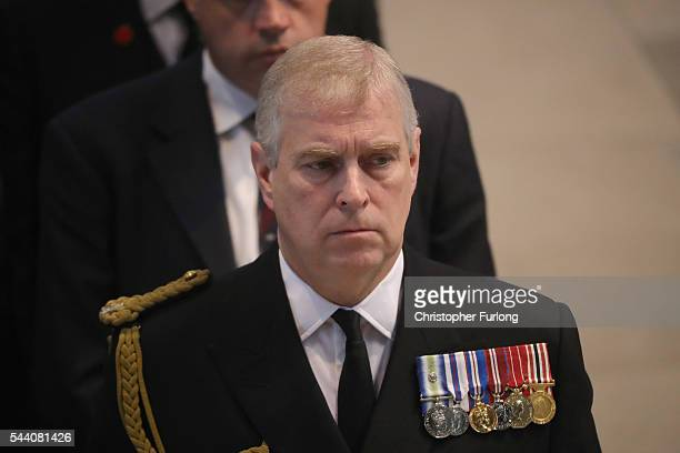 Prince Andrew Duke of York attends a commemoration service at Manchester Cathedral marking the 100th anniversary since the start of the Battle of the...