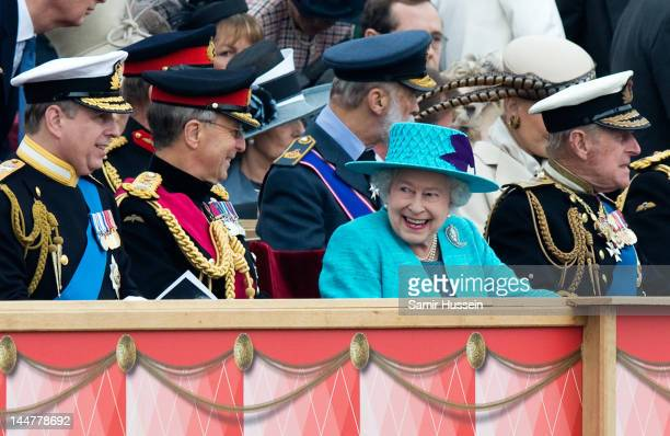 Prince Andrew Duke of York Chief of the Defence Staff General Sir David Richards Queen Elizabeth II and Prince Philip Duke of Edinburgh attend the...
