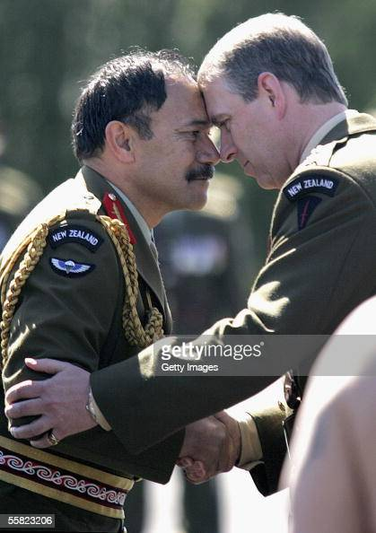 Prince Andrew Duke of York gets a Maori greeting from Major General Jerry Mateparae of the armed forces during a Powhiri and reviewing of the parade...