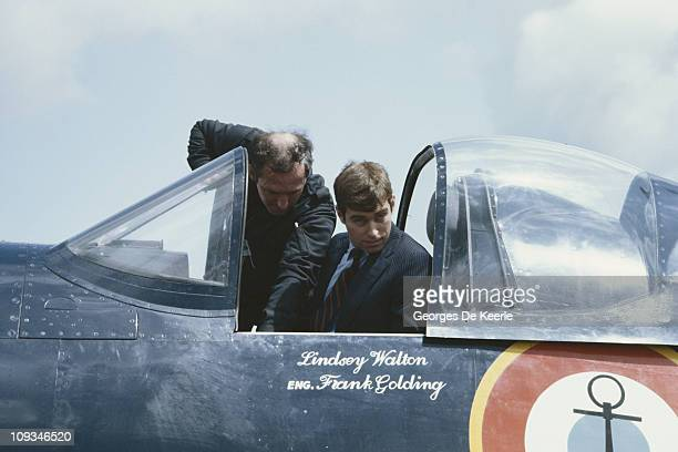 Prince Andrew Duke of York in the cockpit of a Vought F4U Corsair fighter circa 1982