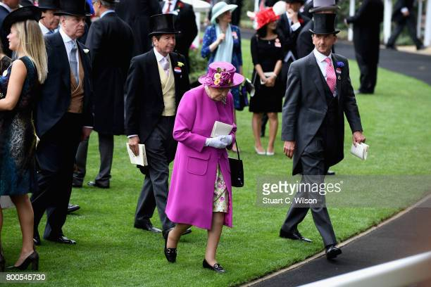 Prince Andrew Duke of York John Warren Queen Elizabeth II and Johnny Weatherby are seen in the parade ring on day 5 of Royal Ascot 2017 at Ascot...