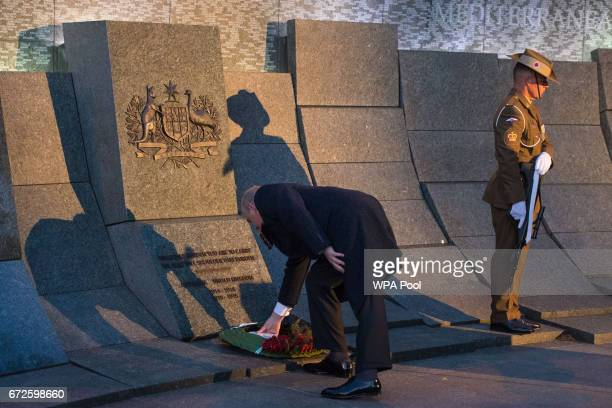 Prince Andrew Duke of York lays a wreath at the Australian War Memorial at Hyde Park Corner during an Anzac Day dawn service on April 25 2017 in...