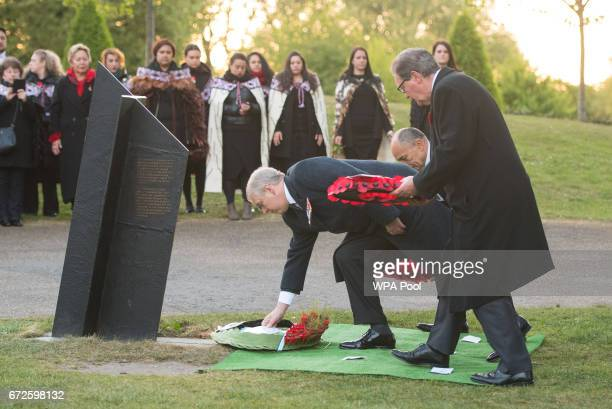 Prince Andrew Duke of York lays a wreath at the New Zealand War Memorial at Hyde Park Corner during an Anzac Day dawn service on April 25 2017 in...