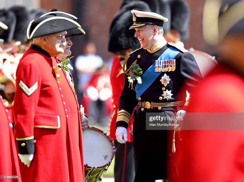 Prince Andrew, Duke of York meets Chelsea Pensioners as he attends the annual Founder's Day Parade at the Royal Hospital Chelsea on June 4, 2015 in London, England.