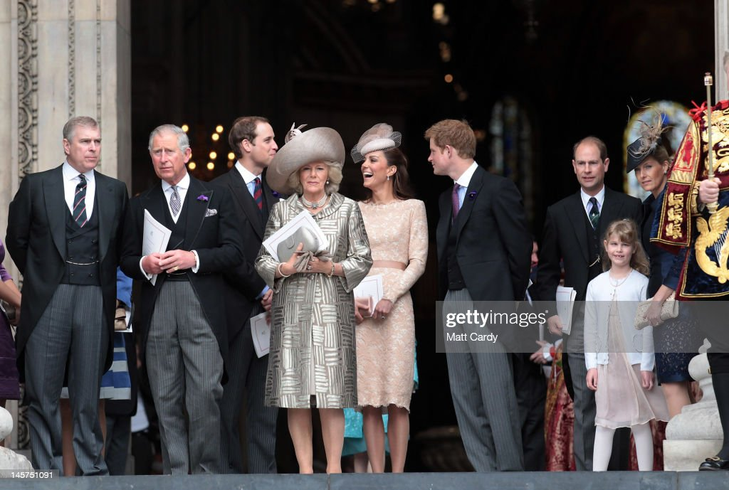 <a gi-track='captionPersonalityLinkClicked' href=/galleries/search?phrase=Prince+Andrew+-+Duke+of+York&family=editorial&specificpeople=160175 ng-click='$event.stopPropagation()'>Prince Andrew</a>, Duke of York, <a gi-track='captionPersonalityLinkClicked' href=/galleries/search?phrase=Prince+Charles+-+Prince+of+Wales&family=editorial&specificpeople=160180 ng-click='$event.stopPropagation()'>Prince Charles</a>, Prince of Wales, Prince William, Duke of Cambridge, <a gi-track='captionPersonalityLinkClicked' href=/galleries/search?phrase=Camilla+-+Duchess+of+Cornwall&family=editorial&specificpeople=158157 ng-click='$event.stopPropagation()'>Camilla</a>, Duchess of Cornwall, Catherine, Duchess of Cambridge, <a gi-track='captionPersonalityLinkClicked' href=/galleries/search?phrase=Prince+Harry&family=editorial&specificpeople=178173 ng-click='$event.stopPropagation()'>Prince Harry</a>, Prince Edward, Earl of Wessex, daughter Lady Louise Windsor and Sophie Countess of Wessex leave a Service Of Thanksgiving at St Paul's Cathedral on June 5, 2012 in London, England. For only the second time in its history the UK celebrates the Diamond Jubilee of a monarch. Her Majesty Queen Elizabeth II celebrates the 60th anniversary of her ascension to the throne. Thousands of wellwishers from around the world have flocked to London to witness the spectacle of the weekend's celebrations.