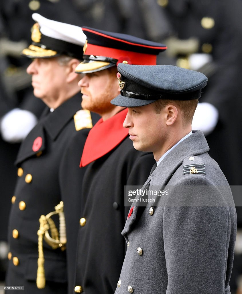 Prince Andrew, Duke of York, Prince Harry and Prince William, Duke of Cambridge during the annual Remembrance Sunday Service at The Cenotaph on November 12, 2017 in London, England.
