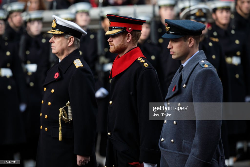 Prince Andrew, Duke of York, Prince Harry and Prince William, Duke of Cambridge attend the annual Remembrance Sunday memorial on November 12, 2017 in London, England. The Prince of Wales, senior politicians, including the British Prime Minister and representatives from the armed forces pay tribute to those who have suffered or died at war.