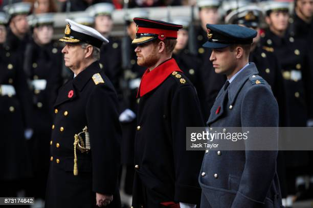 Prince Andrew Duke of York Prince Harry and Prince William Duke of Cambridge attend the annual Remembrance Sunday memorial on November 12 2017 in...