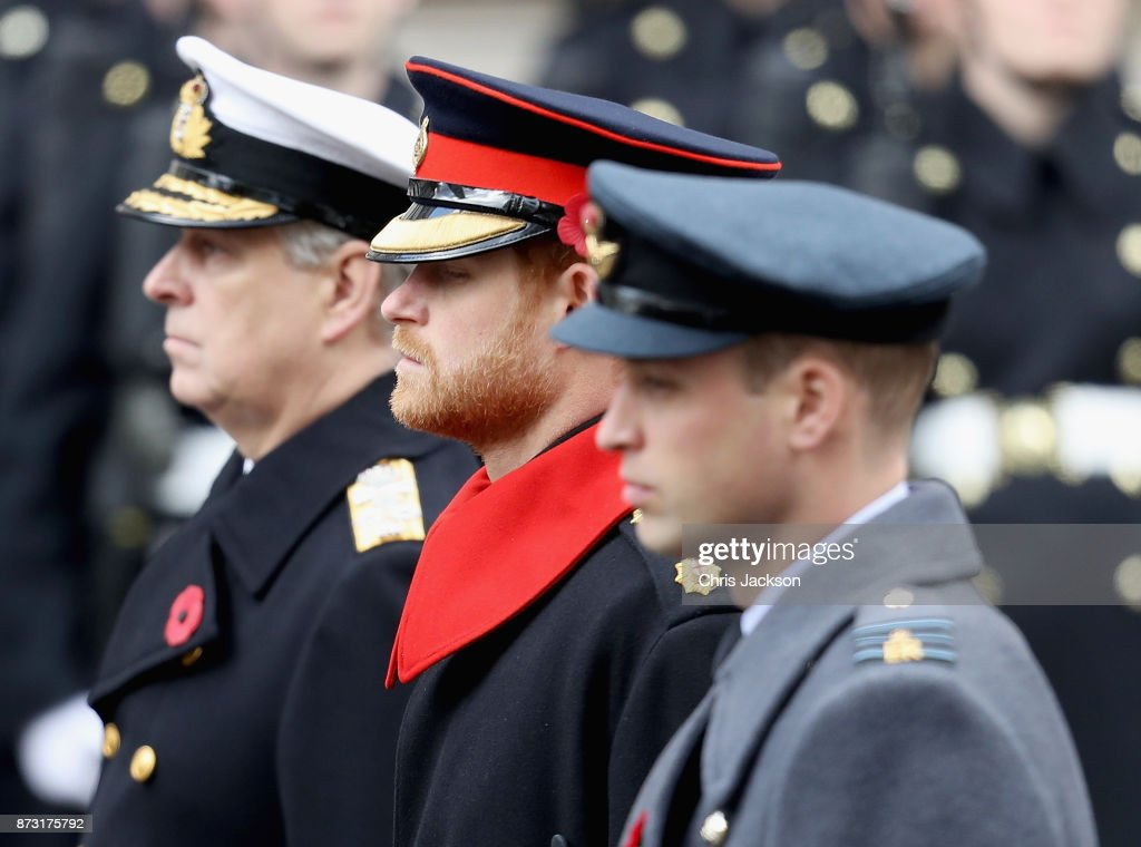 Prince Andrew, Duke of York, Prince Harry and Prince William, Duke of Cambridge during the annual Remembrance Sunday memorial on November 12, 2017 in London, England. The Prince of Wales, senior politicians, including the British Prime Minister and representatives from the armed forces pay tribute to those who have suffered or died at war.