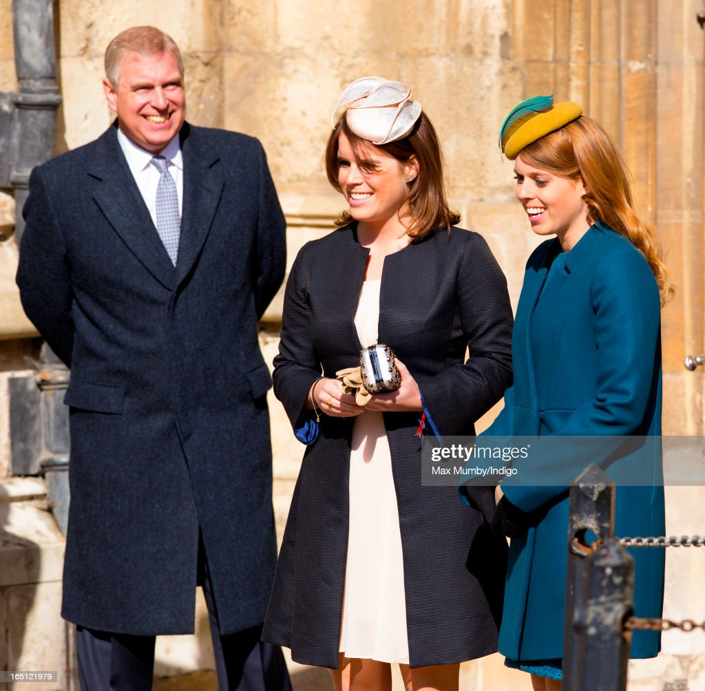 <a gi-track='captionPersonalityLinkClicked' href=/galleries/search?phrase=Prince+Andrew+-+Duke+of+York&family=editorial&specificpeople=160175 ng-click='$event.stopPropagation()'>Prince Andrew</a>, Duke of York, <a gi-track='captionPersonalityLinkClicked' href=/galleries/search?phrase=Princess+Eugenie&family=editorial&specificpeople=160237 ng-click='$event.stopPropagation()'>Princess Eugenie</a> and Princess Beatrice attend the Easter Matins Church Service at St George's Chapel, Windsor Castle on March 31, 2013 in Windsor, England.