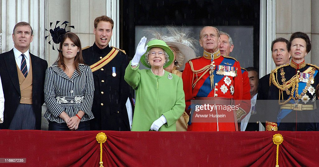 <a gi-track='captionPersonalityLinkClicked' href=/galleries/search?phrase=Prince+Andrew+-+Duke+of+York&family=editorial&specificpeople=160175 ng-click='$event.stopPropagation()'>Prince Andrew</a>, Duke of York, <a gi-track='captionPersonalityLinkClicked' href=/galleries/search?phrase=Princess+Eugenie&family=editorial&specificpeople=160237 ng-click='$event.stopPropagation()'>Princess Eugenie</a>, <a gi-track='captionPersonalityLinkClicked' href=/galleries/search?phrase=Prince+William&family=editorial&specificpeople=178205 ng-click='$event.stopPropagation()'>Prince William</a>, Queen Elizabeth ll, <a gi-track='captionPersonalityLinkClicked' href=/galleries/search?phrase=Camilla+-+Duchess+of+Cornwall&family=editorial&specificpeople=158157 ng-click='$event.stopPropagation()'>Camilla</a>, Duchess of Cornwall, Prince Philip, Duke of Edinburgh, <a gi-track='captionPersonalityLinkClicked' href=/galleries/search?phrase=Prince+Charles+-+Prince+of+Wales&family=editorial&specificpeople=160180 ng-click='$event.stopPropagation()'>Prince Charles</a>, Prince of Wales, David, Viscount Linley and Princess Anne stand on the balcony at Buckingham Palace following the Trooping the Colour Ceremony in London on June 16, 2007.