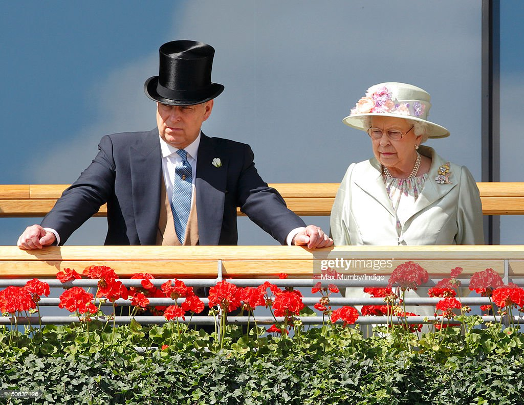 Prince Andrew, Duke of York & Queen <a gi-track='captionPersonalityLinkClicked' href=/galleries/search?phrase=Elizabeth+II&family=editorial&specificpeople=67226 ng-click='$event.stopPropagation()'>Elizabeth II</a> watch the horses in the parade ring as they attend Day 2 of Royal Ascot at Ascot Racecourse on June 18, 2014 in Ascot, England.