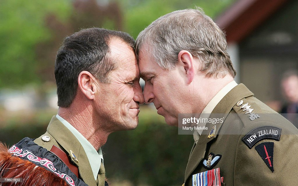<a gi-track='captionPersonalityLinkClicked' href=/galleries/search?phrase=Prince+Andrew+-+Duke+of+York&family=editorial&specificpeople=160175 ng-click='$event.stopPropagation()'>Prince Andrew</a>, Duke of York receives a Hongi (Maori greeting) from WO 1st class George Purvis during a visit to the Trentham Military Camp on the second day of his seven day visit to New Zealand, on March 16, 2007 in Wellington, New Zealand.
