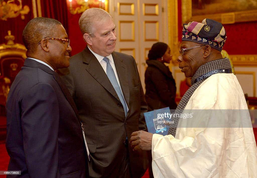 Prince Andrew, Duke of York speaks to Olusegun Obasanjo (right), former president of Nigeria during the London Global African Investment Summit at St James' Palace on December 1, 2015 in London, England.