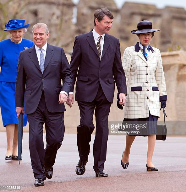 Prince Andrew Duke of York Tim Laurence and Princess Anne The Princess Royal attend the Easter Matins service at St George's Chapel at Windsor Castle...