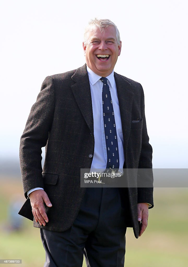Prince Andrew, Duke of York watches play on day one of the Duke of York Young Champions Trophy at the Prince's Golf Club on September 9, 2015 in Sandwich, Kent.