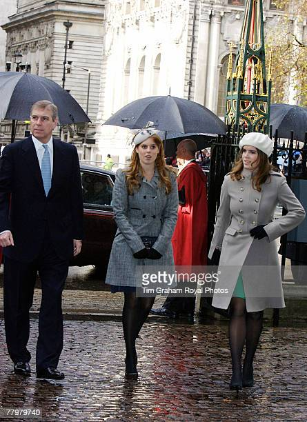 Prince Andrew Duke of York with his daughters Princess Beatrice and Princess Eugenie at a service of thanksgiving at Westminster Abbey to celebrate...