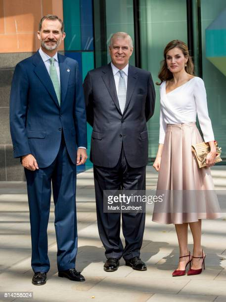 Prince Andrew Duke of York with King Felipe of Spain and Queen Letizia of Spain visit the Francis Crick Institute during a State visit by the King...