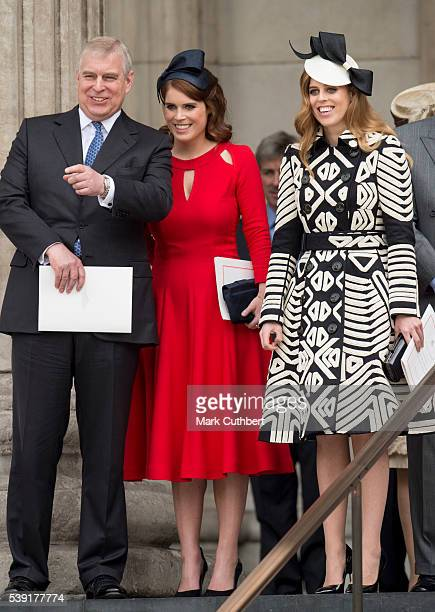 Prince Andrew Duke of York with Princess Beatrice and Princess Eugenie attend a National Service of Thanksgiving as part of the 90th birthday...
