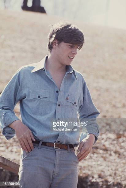 Prince Andrew Duke of York works on a farm in Ontario Canada circa 1977
