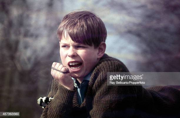 Prince Andrew during the Badminton Horse Trials in Gloucestershire on 26th April 1969 The young Prince is holding a pendulum ball toy known as...
