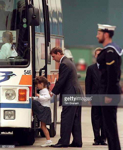 Prince Andrew Helping Princess Eugenie Into A Bus At Aberdeen Scotland Princess Beatrice Is Already Aboard