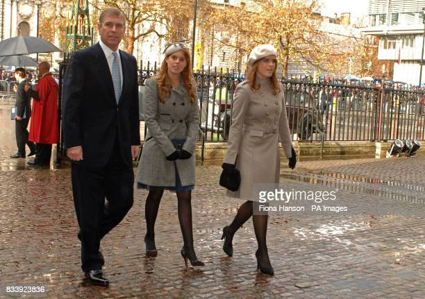 Prince Andrew Princess Beatrice and Princess Eugene arrive at Westminster Abbey London for a service of celebration to mark the diamond wedding...
