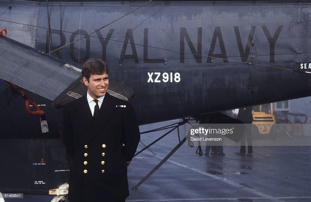 Prince Andrew returns from the Falklands War on September 17, 1982, on board HMS Invincible. He posed in front of the Sea King helicopter that he had flown in the War.He arrived with the rest of the crew in Portsmouth Harbour, Portsmouth, Hampshire, where he was met by Queen Elizabeth II and Prince Philip with Princess Anne.