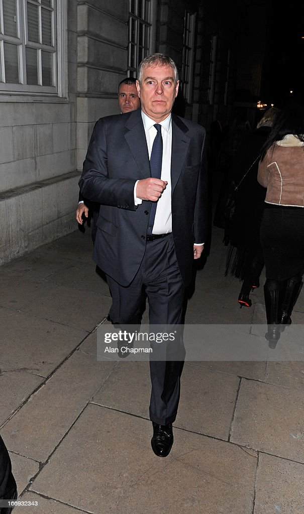 Prince Andrew sighting leaving Loulou's Mayfair on April 18, 2013 in London, England.