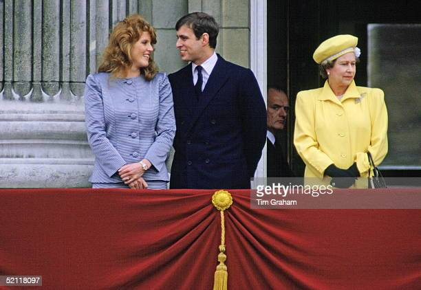 Prince Andrew With His Fiancee Sarah Ferguson On The Balcony Of Buckingham Palace With The Queen For Her 60th Birthday