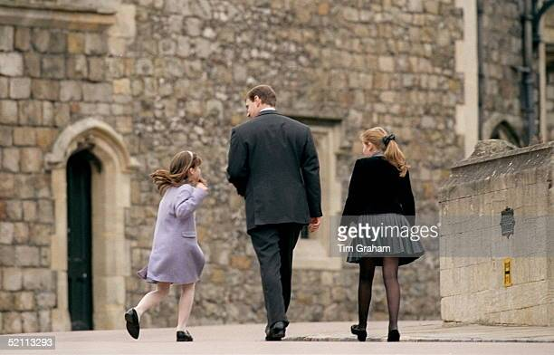 Prince Andrew With Princess Beatrice And Princess Eugenie Attending The Easter Service