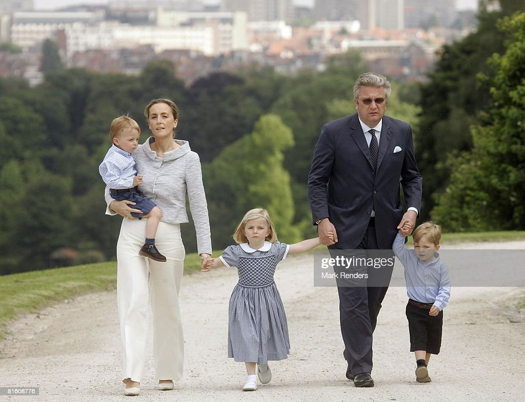 Prince Aymerick of Belgium, Princess Claire of Belgium, Princess Louise of Belgium, Prince Laurent of Belgium and Prince Nicolas of Belgium attend a press photocall at Laeken Castle on June 17, 2008 in Brussels, Belgium.