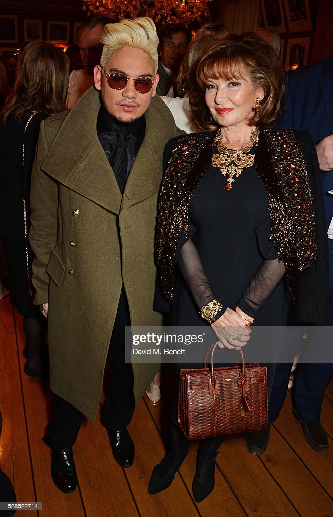 Prince Azim of Brunei (L) and <a gi-track='captionPersonalityLinkClicked' href=/galleries/search?phrase=Stephanie+Beacham&family=editorial&specificpeople=863856 ng-click='$event.stopPropagation()'>Stephanie Beacham</a> attend the launch of Dame Joan Collins' new book 'The St. Tropez Lonely Hearts Club' at Harry's Bar on May 5, 2016 in London, England.